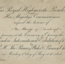 Image of Invitation to London International Exhibition, 1871