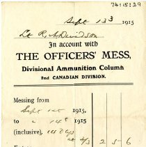 Image of Officers' Mess. Receipt