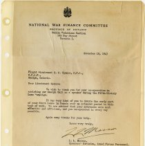 Image of .47   Letter From National War Finance Committee   November 10, 1943
