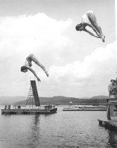 Image of Two Girls Diving at Camp Mudjekeewis, 1958 - 2002.08.0006