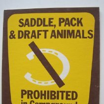 Image of Saddle, Pack & Draft Animals Prohibited in Campground - Sign