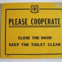 Image of Please Cooperate, Close the Door, Keep the Toilet Clean - Sign