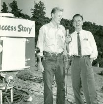 Image of Woody Hite with TV Emcee - M1994.029.084f