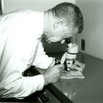 Image of Virgil D. Moss Using a Microscope - 2011.040.005