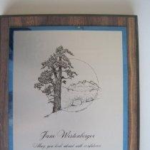 Image of Sierra National Forest Appreciation of Jane Westenberger Work - Plaque