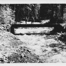 Image of Boy Scouts Larry Garrison and Jimmy Jones Crossing Bridge, Gallatin NF - 2004.075.461a
