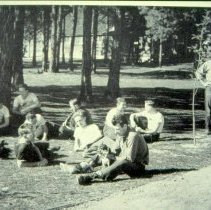 Image of CPS Smokejumpers Relaxing on a Lawn - 2005.216.140