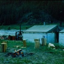Image of Warming Fire beside the Wanigan, the Last Log Drive - 2017.079.006