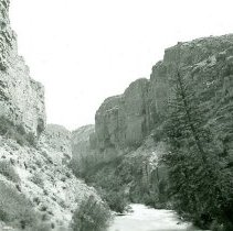Image of Gorge below natural bridge Dinwoody Creek, Shoshone Indian Reservation 7/28/1938 - 1990.001.053.258