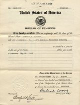 Image of Pension certificate, 1925, unfolded