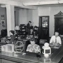 Image of Beckman Supply Co. office and staff, 1940s (restored)