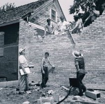 Image of Volunteers restore the Little Red Schoolhouse - Photograph Collection