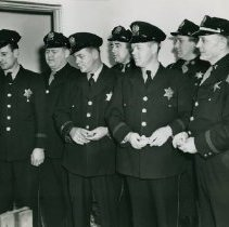 Image of Mayor Dowling with Hammond police officers - Photograph Collection