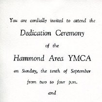 Image of Dedication program for the Hammond YMCA
