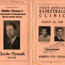 Image of Booklet for 1939 1st Annual Hammond Basketball Clinic