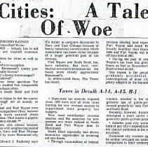 Image of 1980 Hammond Times news article on Hammond's financial struggles