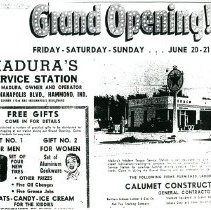 Image of Copied newspaper featuring the grand opening of Madura's Service Station