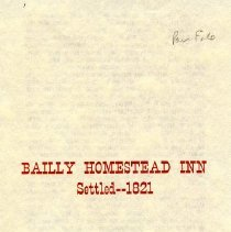 Image of Bailly Homestead Inn Informational Flyer