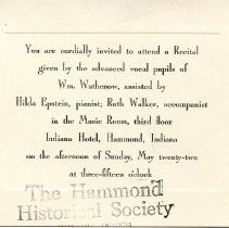 Image of Invitation to a recital given in the Indiana Hotel's Music Room