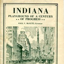 Image of 1933 Indiana Commission booklet on the progress of Indiana as a state