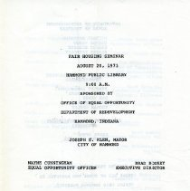 Image of 1973 Fair Housing Seminar program
