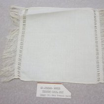 "Image of One 11 3/4"" x 8 1/2"" white embroidery, with fringe.  - Embroidery"