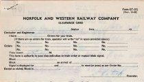 Image of N&W Clearance Card 1976