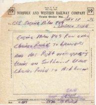 Image of N&W Train Order May 1976