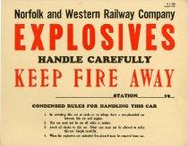Image of N&W Explosives Placard
