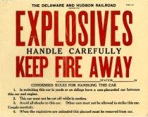 Image of D&H RR Explosives Placard