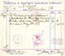 Image of N&W Bill April 1887 Back