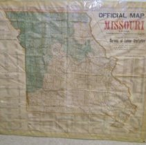 Image of Unframed Official map of Missouri dated 1908, showing value of commodities shipped from each county during 1907.  It was published by the State Bureau of Labor Statistics.  It is 28-1/2 inches by 33 inches. Photo #1408