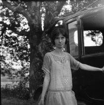 Image of Lelia next to Car - 07/14/1924