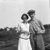 Image of Maud and friend on the rail line - 1920?