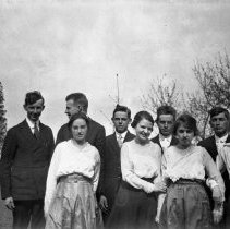 Image of Nine youths in a row - ca. 1920