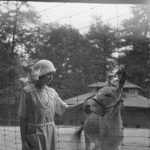 Image of Sarah Wade petting a Mexican burro - 9/9/1921