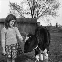 Image of Rhea Wade with calf (5) - 04/24/1938