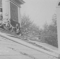 Image of Repairing the Roof of the Dutch Reformed Church of East Millstone, NJ (1909) - 1909
