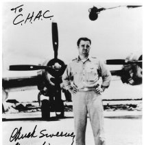 Image of Photo of Chuck W. Sweeny standing by the B-29 - 1995.133.01