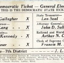 Image of Card, Political, 1938 Election