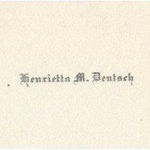 Image of Card, Calling, Henrietta Deutsch