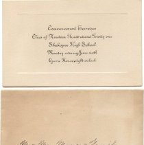 Image of Announcement, 1921 Shak High School Commencement