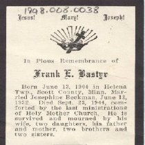 Image of Card, Prayer, Frank Bastyr