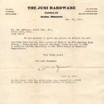 Image of Letter, Juni Hardware to School Dist 19