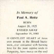 Image of Card, Prayer, Paul Heitz