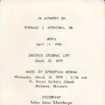 Image of Card, Prayer, Thomas Hovorka, Sr.