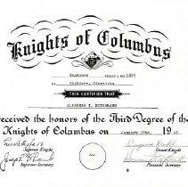 Image of Certificate, Alphonse Notermann, Shak KofC