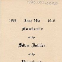 Image of Card, Commemorative, Father Mamer Silver Jubilee