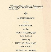 Image of Card, Commemorative, Father Weiers