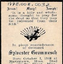Image of Card, Prayer, Sylvester Grommesch